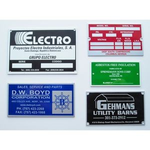 Aluminum ID/Name Plates falling between 1-3.9 sq. inches w/ a an epoxy screen printed imprint.